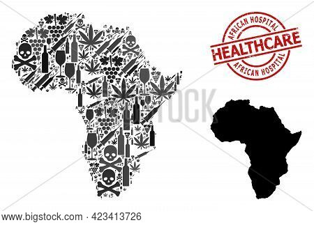 Vector Narcotic Collage Map Of Africa. Rubber Health Care Round Red Rubber Imitation. Template For N