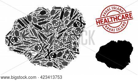 Vector Addiction Mosaic Map Of Kauai Island. Rubber Healthcare Round Red Rubber Imitation. Concept F