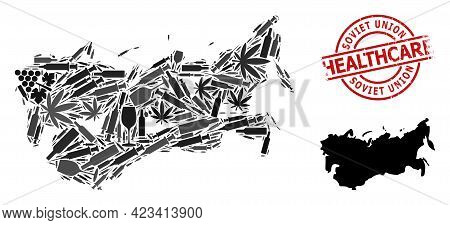 Vector Narcotic Composition Map Of Ussr. Grunge Healthcare Round Red Imprint. Template For Narcotic