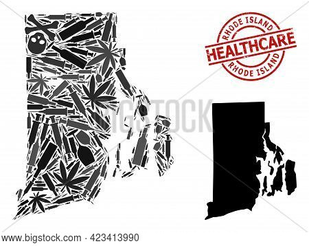 Vector Addiction Mosaic Map Of Rhode Island State. Scratched Health Care Round Red Badge. Concept Fo