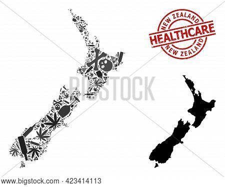 Vector Narcotic Collage Map Of New Zealand. Grunge Healthcare Round Red Imprint. Concept For Narcoti