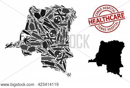 Vector Narcotic Composition Map Of Democratic Republic Of The Congo. Scratched Health Care Round Red