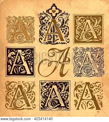 Initial Letter A With Vintage Baroque Ornamentations. Vector Uppercase Letters A With Decorations On
