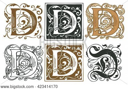 Initial Letters D With Vintage Baroque Ornamentations. Vector Uppercase Letters D With Floral Decora