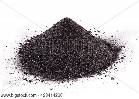 Graphite Powder Used In Industry, Black Powder With Isolated White Background And Copy Space.