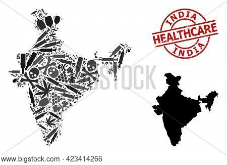 Vector Addiction Mosaic Map Of India. Scratched Health Care Round Red Seal Stamp. Template For Narco