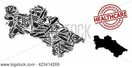 Vector Addiction Collage Map Of Turkmenistan. Scratched Healthcare Round Red Badge. Template For Nar
