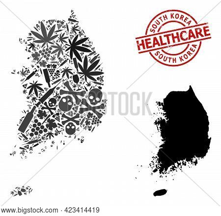 Vector Addiction Mosaic Map Of South Korea. Rubber Healthcare Round Red Rubber Imitation. Template F