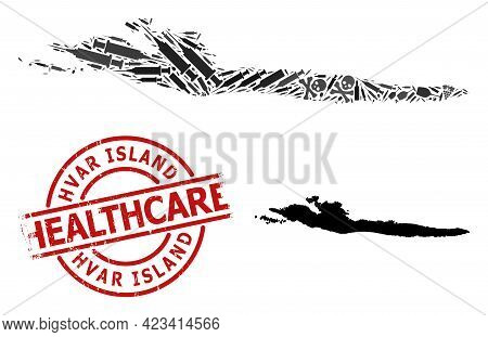 Vector Narcotic Composition Map Of Hvar Island. Rubber Health Care Round Red Badge. Concept For Narc