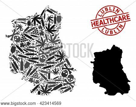 Vector Drugs Composition Map Of Lublin Province. Rubber Healthcare Round Red Seal. Template For Narc