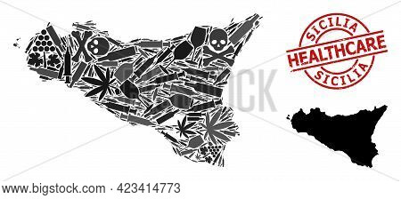 Vector Addiction Collage Map Of Sicilia Island. Rubber Health Care Round Red Rubber Imitation. Templ
