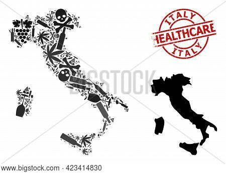 Vector Narcotic Composition Map Of Italy. Scratched Healthcare Round Red Watermark. Concept For Narc