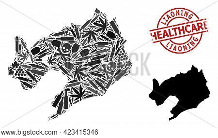 Vector Addiction Composition Map Of Liaoning Province. Rubber Healthcare Round Red Imprint. Concept