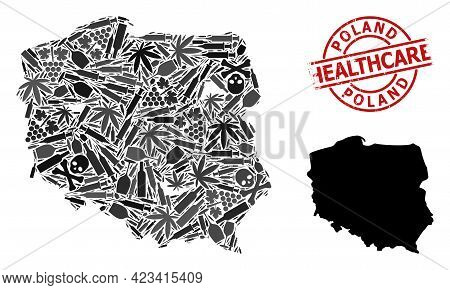 Vector Addiction Composition Map Of Poland. Grunge Healthcare Round Red Seal Stamp. Concept For Narc