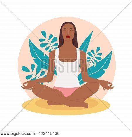 Concept Illustration For Yoga, Meditation, Relax,  Healthy Lifestyle. Woman Meditating In Nature. Il