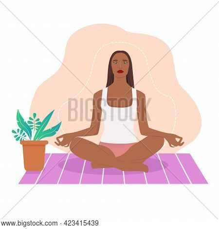 Yong Woman Meditating At Home. Concept Illustration For Yoga, Meditation, Relax, Recreation, Healthy