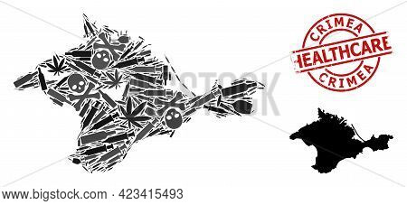 Vector Addiction Composition Map Of Crimea. Grunge Health Care Round Red Seal Stamp. Template For Na