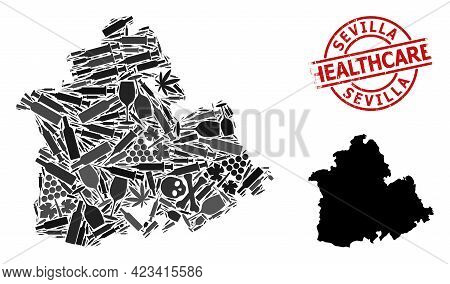 Vector Drugs Mosaic Map Of Sevilla Province. Rubber Health Care Round Red Seal Stamp. Concept For Na