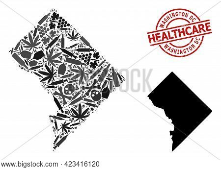 Vector Narcotic Composition Map Of Washington Dc. Rubber Health Care Round Red Seal Stamp. Template