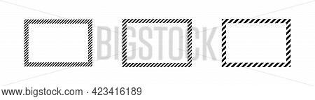 Black Stripes Frame Set On White Background For Package Paper Design. Paper Cover Poster Frames. Lin