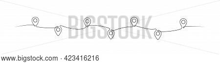 Location Pointers One Line Drawing. Continuous One Line Pin Pointers Vector Illustration. Gps Naviga