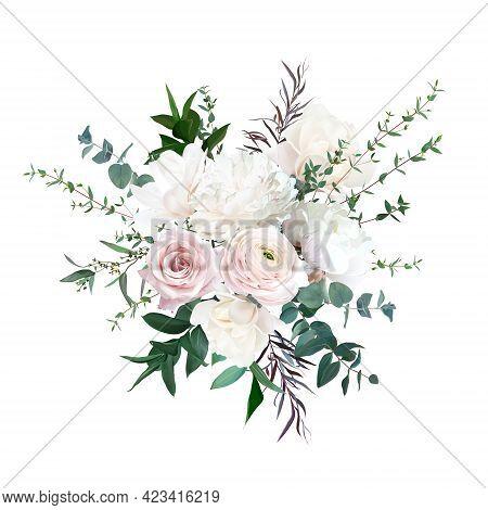Delicate White Peony, Cream White Magnolia, Pink Rose And Ranunculus, Peony Flowers