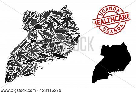Vector Addiction Mosaic Map Of Uganda. Grunge Healthcare Round Red Watermark. Template For Narcotic