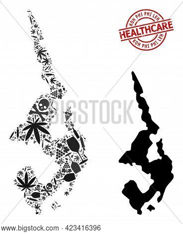 Vector Addiction Collage Map Of Koh Phi Leh. Grunge Health Care Round Red Imprint. Template For Narc
