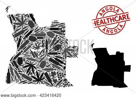 Vector Drugs Mosaic Map Of Angola. Rubber Health Care Round Red Seal. Concept For Narcotic Addiction
