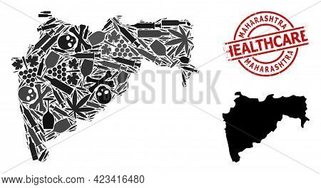 Vector Narcotic Composition Map Of Maharashtra State. Grunge Healthcare Round Red Seal. Concept For