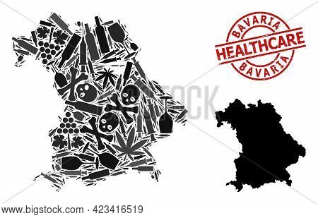 Vector Addiction Composition Map Of Bavaria State. Grunge Healthcare Round Red Seal. Template For Na