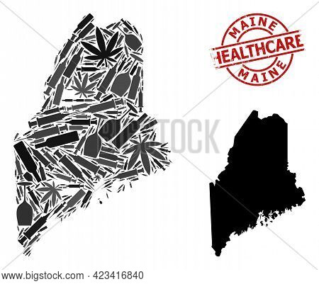 Vector Narcotic Collage Map Of Maine State. Grunge Healthcare Round Red Imprint. Concept For Narcoti