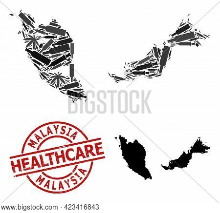 Vector Addiction Composition Map Of Malaysia. Scratched Healthcare Round Red Imprint. Concept For Na