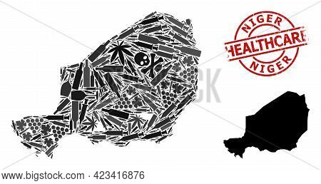 Vector Narcotic Collage Map Of Niger. Scratched Health Care Round Red Imprint. Template For Narcotic