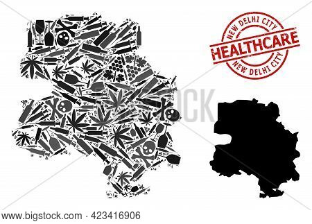 Vector Addiction Mosaic Map Of New Delhi City. Grunge Health Care Round Red Badge. Concept For Narco