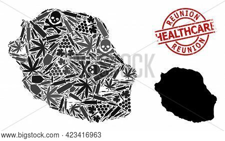 Vector Drugs Composition Map Of Reunion Island. Grunge Health Care Round Red Watermark. Concept For