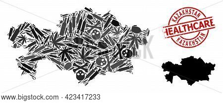 Vector Addiction Mosaic Map Of Kazakhstan. Scratched Healthcare Round Red Stamp. Template For Narcot