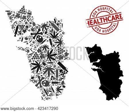 Vector Addiction Collage Map Of Goa State. Rubber Healthcare Round Red Seal. Concept For Narcotic Ad