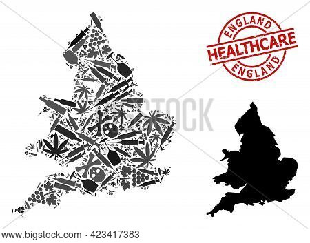 Vector Addiction Mosaic Map Of England. Scratched Healthcare Round Red Imprint. Template For Narcoti