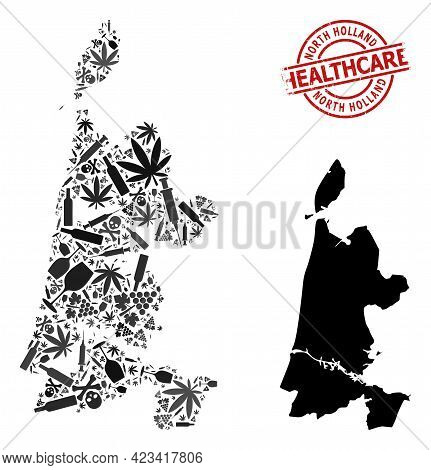 Vector Drugs Mosaic Map Of North Holland. Grunge Health Care Round Red Rubber Imitation. Template Fo