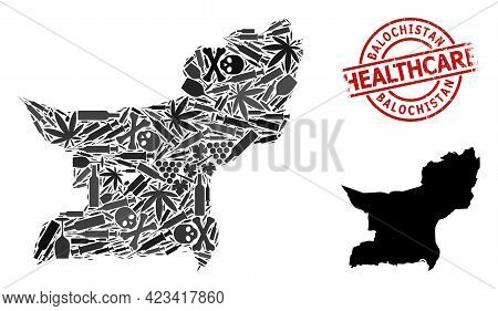 Vector Addiction Mosaic Map Of Balochistan Province. Grunge Health Care Round Red Imprint. Concept F