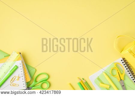 Above Photo Of Pencil-case Notebook Pen Pencil Felt-tip Scissors Ruler And Paperclips Isolated On Th