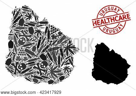 Vector Narcotic Mosaic Map Of Uruguay. Rubber Health Care Round Red Imprint. Template For Narcotic A