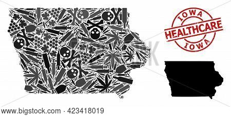Vector Narcotic Mosaic Map Of Iowa State. Rubber Health Care Round Red Seal. Template For Narcotic A
