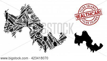 Vector Addiction Mosaic Map Of Tilos Island. Grunge Health Care Round Red Badge. Concept For Narcoti