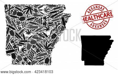 Vector Narcotic Collage Map Of Arkansas State. Grunge Health Care Round Red Stamp. Template For Narc