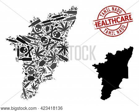 Vector Narcotic Mosaic Map Of Tamil Nadu State. Rubber Healthcare Round Red Imprint. Concept For Nar