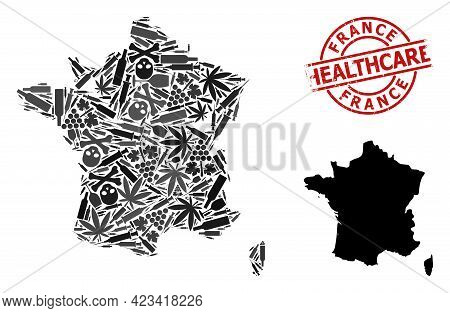 Vector Drugs Composition Map Of France. Scratched Health Care Round Red Seal. Concept For Narcotic A