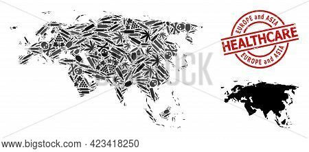 Vector Addiction Collage Map Of Europe And Asia. Grunge Healthcare Round Red Stamp. Template For Nar