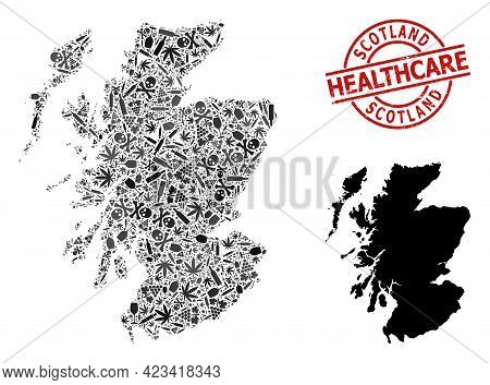 Vector Narcotic Composition Map Of Scotland. Rubber Healthcare Round Red Rubber Imitation. Template